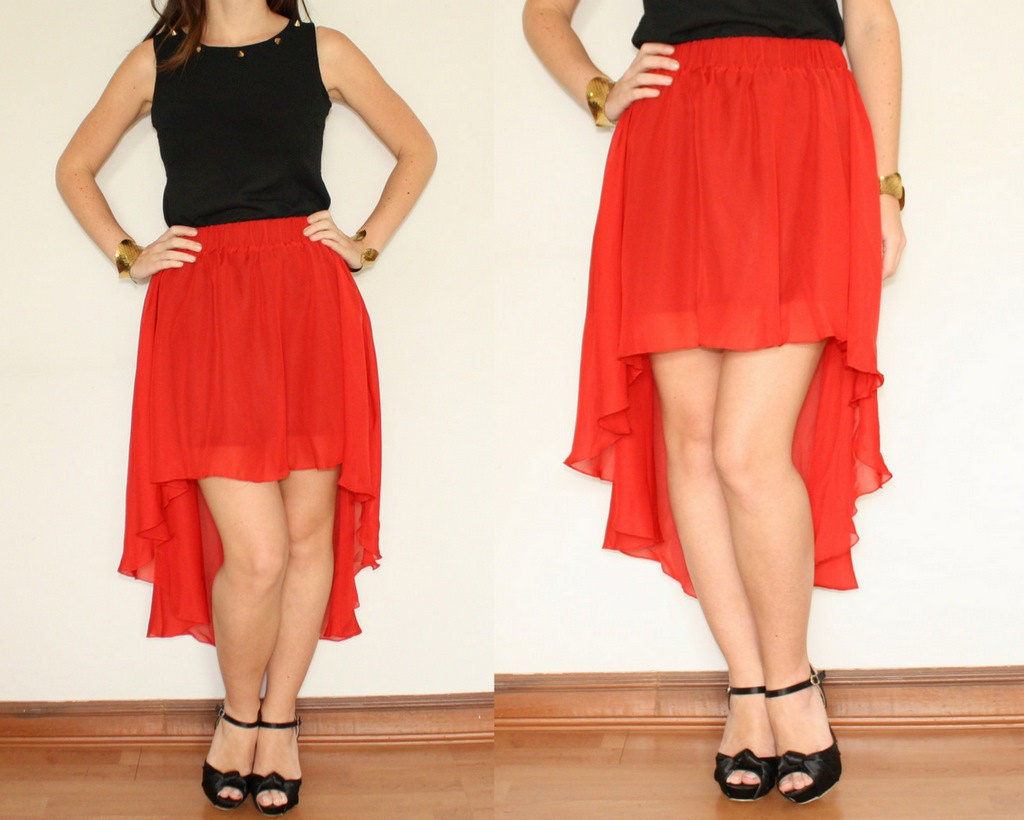 high low skirt asymmetric skirt in sheer chiffon by