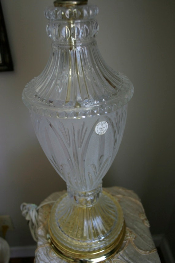 Vintage Cut Glass Crystal Table Lamp By GreenDogMercantile