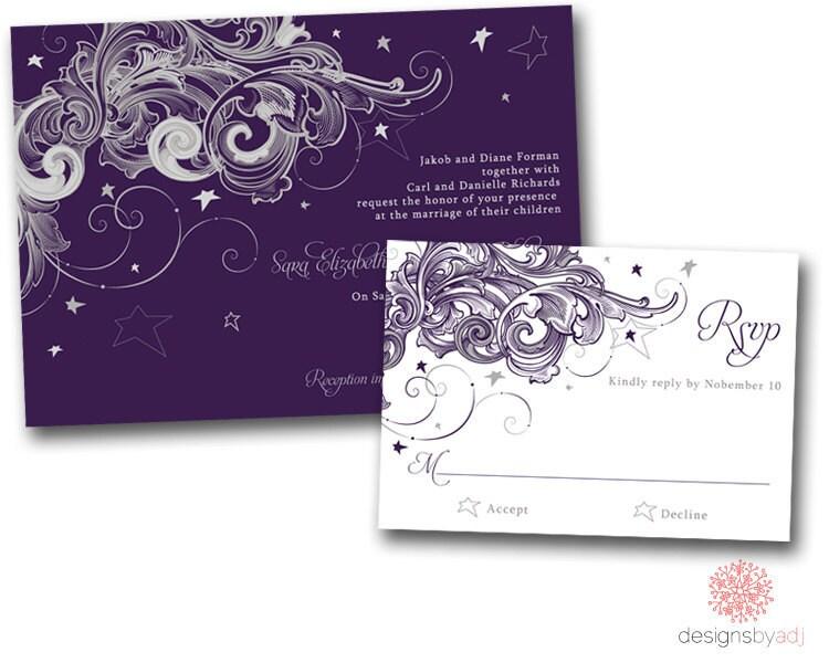 SAMPLE SET Starry Night Wedding Invitation From DesignsbyAdj