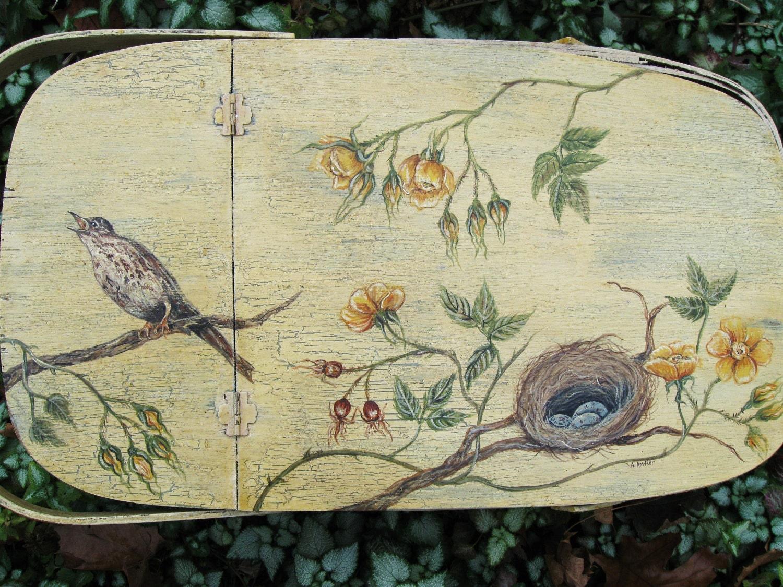OOAK, Vintage Picnic Hamper,Picnic Basket,Vintage Hand Painted Picnic Basket, Vintage Bird Painting, Yellow Rose Painting, Treasury Item - AKAdecorativeart