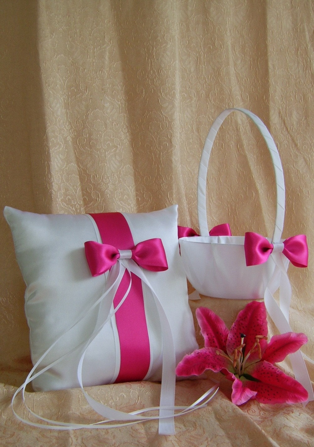 Fuchsia Wedding Color, Flower Girl Basket and Ring Bearer Pillow Set