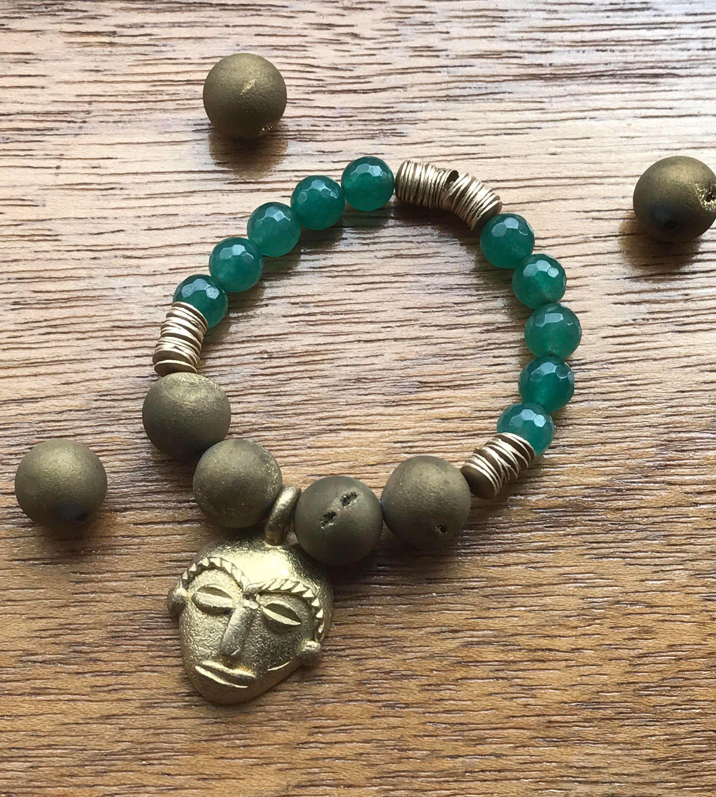 African Gemstone Charm Bracelet Stretch Bracelet Agate Gemstone heishi bracelet Green Jade Bracelet Mask Charm Bracelet