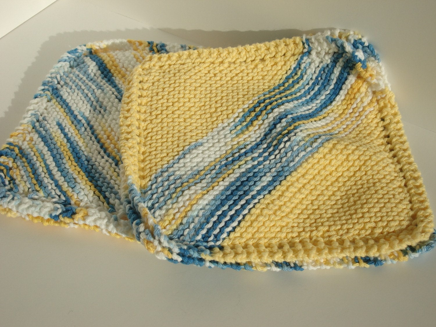Potholder Trivet Set in Blue & Yellow