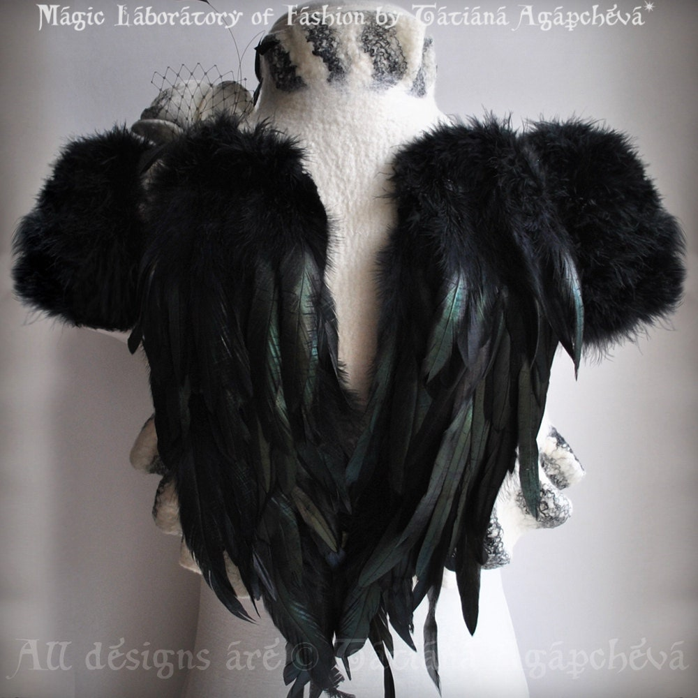 SWAN LAKE Ivory Bolero Shrug Bridal Feathers Wings