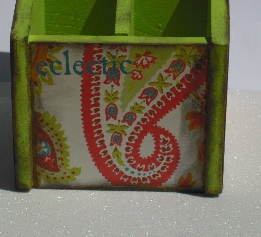 Lime Green and Paisley Pen or Pencil Holder