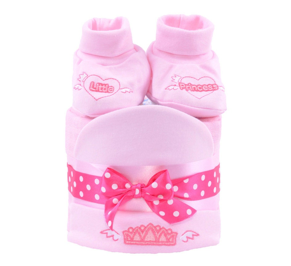 1 Tier Pink Mini New Baby Shower Nappy Cup Cake gift hamper basket   girls