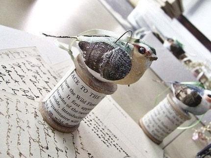 Shabby Bird Ornament