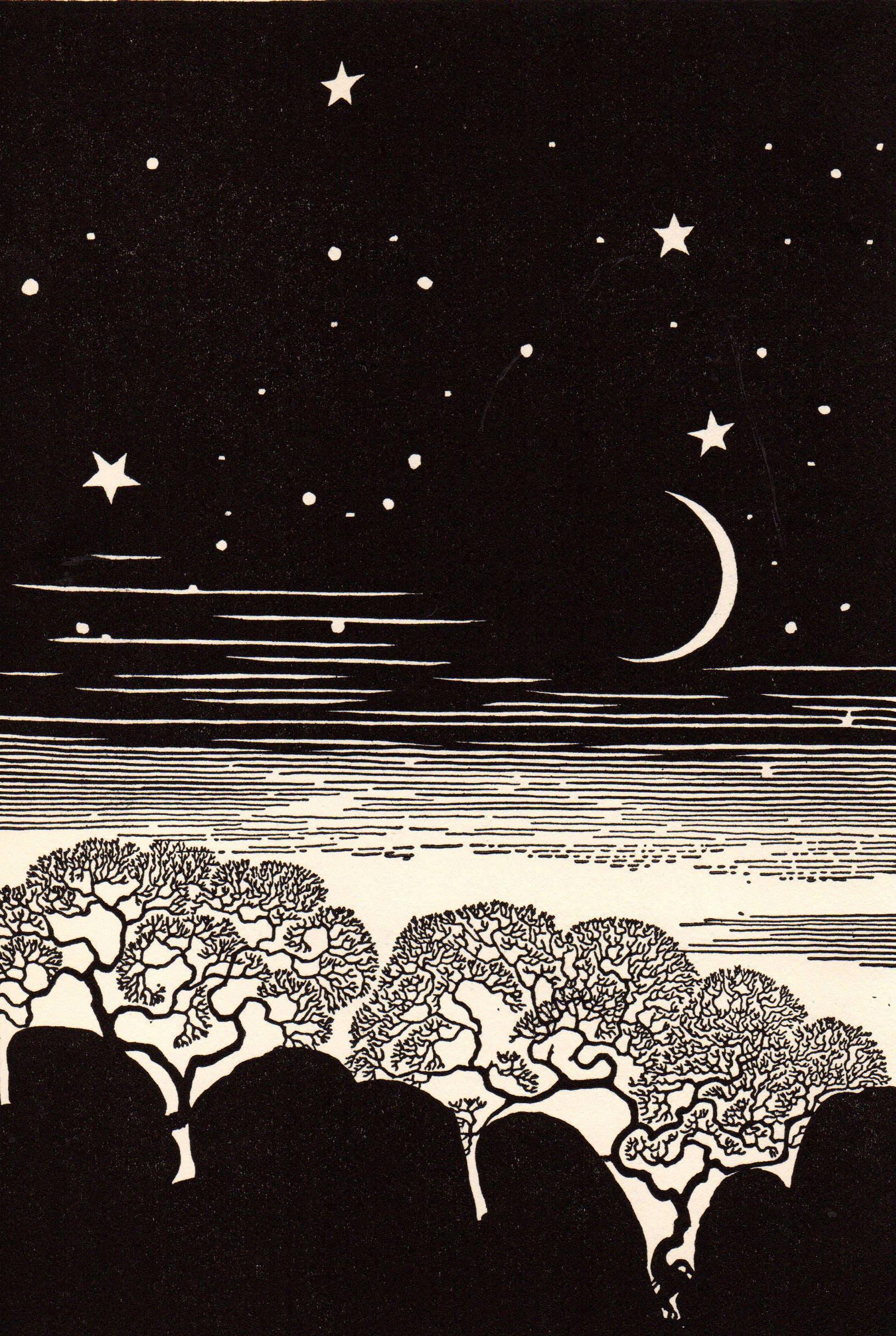 1948 Don BLANDING Original Art Deco Vintage Print Celestial Punctuation
