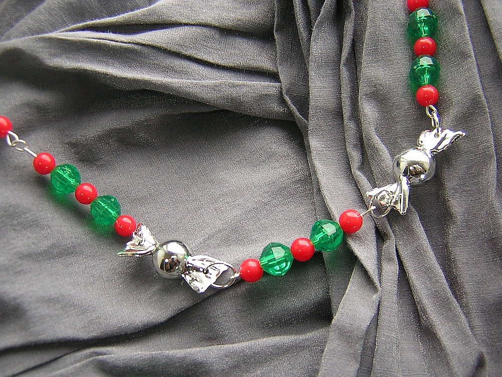 Red, Green, and Silver Christmas Candy Necklace N-00252