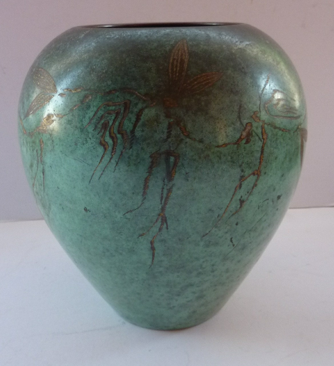 ART DECO WMF Ikora Bronze Vase. Rarer Large Bulbous 1920s. Jugendstil Bauhaus Stylish Design