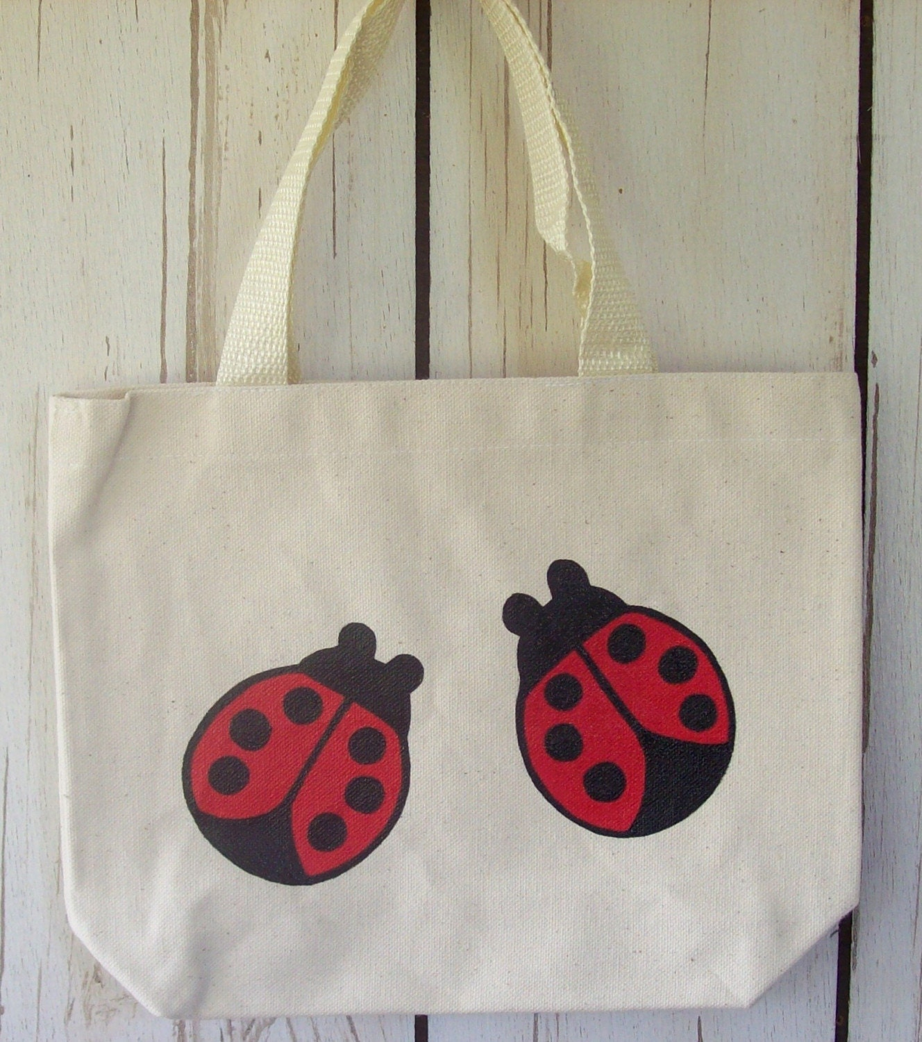 Ladybirds natural small tote bag - Hand-painted