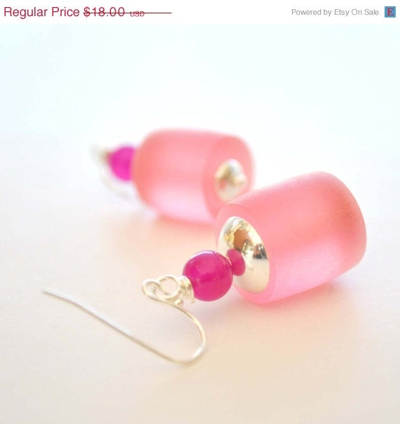 Winter Sale 15% Off Frosted Pink Resin Dangle Earrings, Light Weight Earrings - bstrung