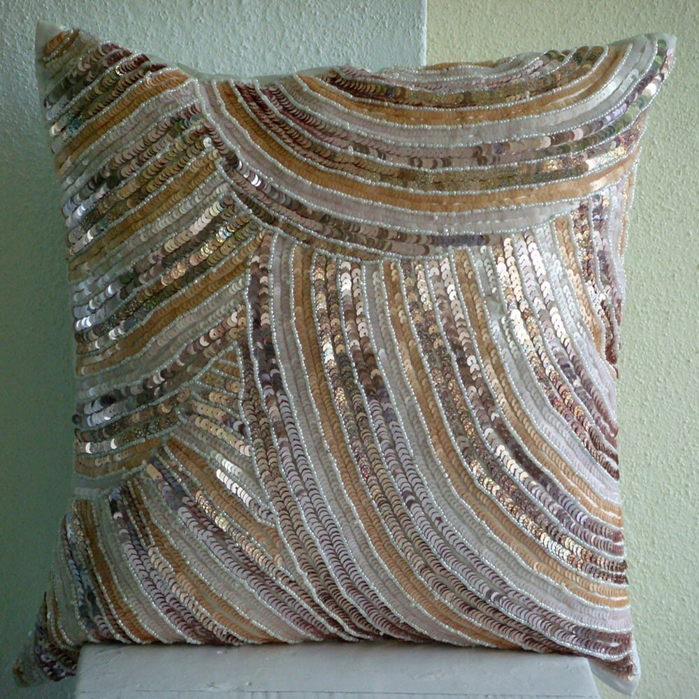 Glamorous - Throw Pillow Covers - 16x16 Inches Silk Pillow Cover Embellished with Sequins And Beads