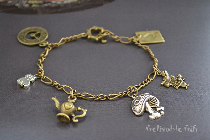 Antique brass and silver Alice in Wonderland charm bracelet BAW02