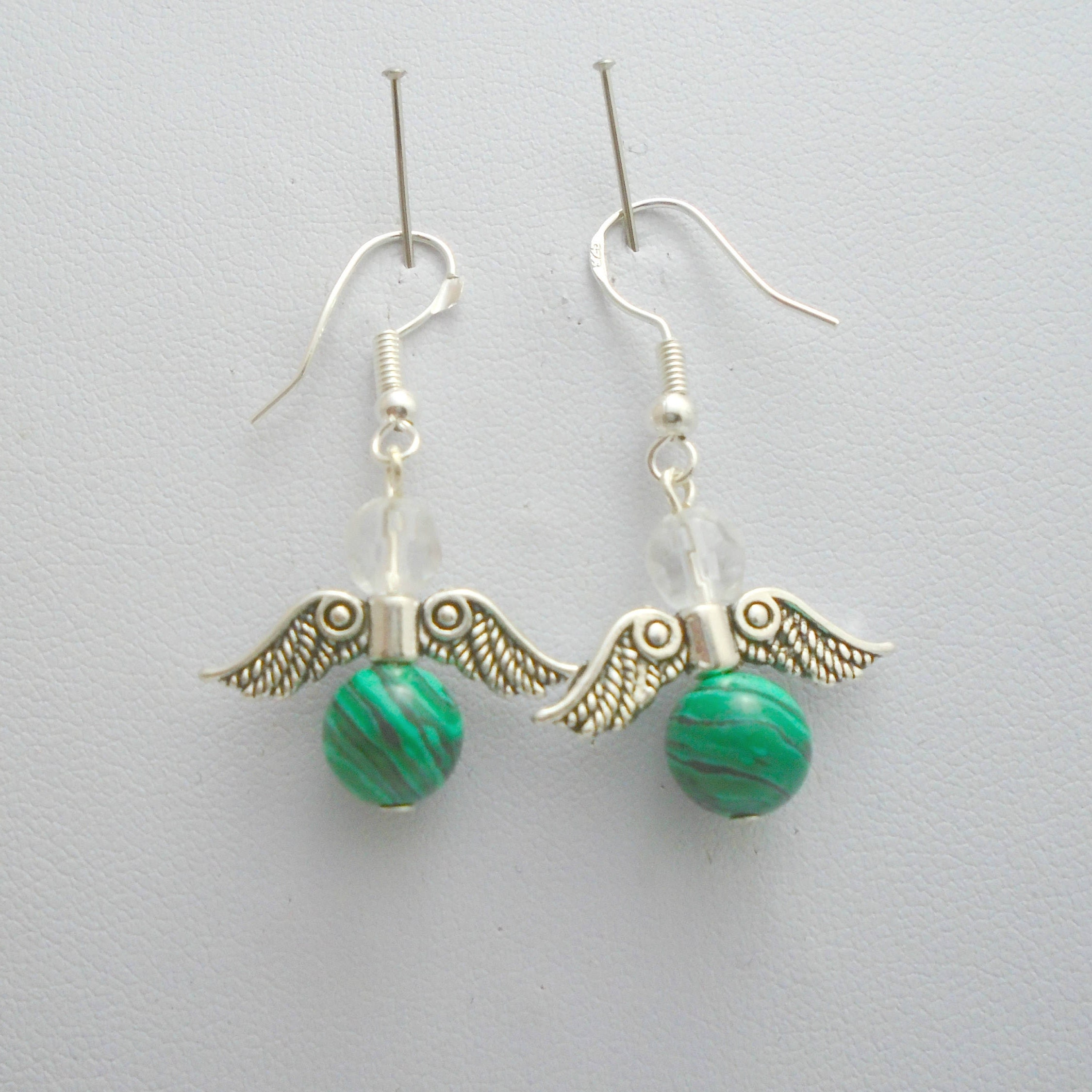 Malachite Earrings Guardian Angel Green Gemstone Earrings Angel Wing Earrings Malachite Jewelry Angel Wings Chakra Earrings