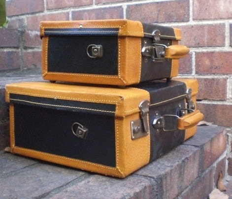 Vintage Unique Set of 2 Small Leather Suitcases