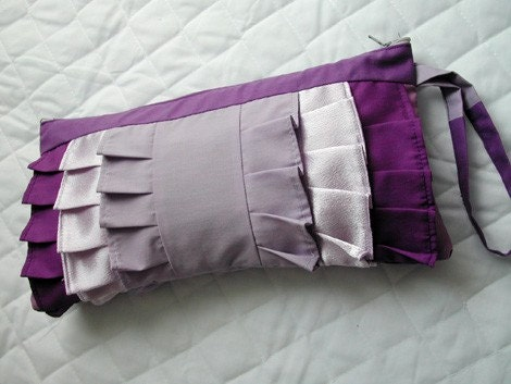 Lavender and Purple ruffle wristlet (X-Large)