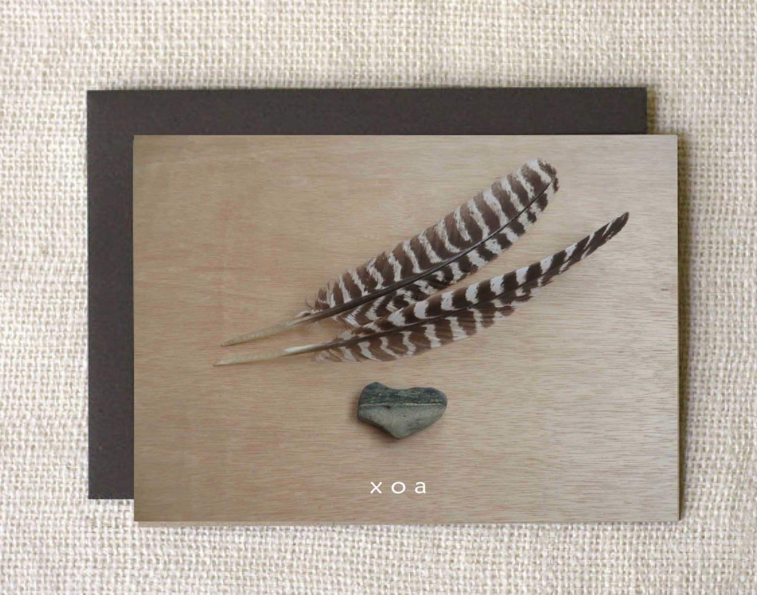 CARD, heart stone & 2 feathers, XOA, with envelope, blank, earthy, contemporary, ranch-wise - FreeRangeCowgirl