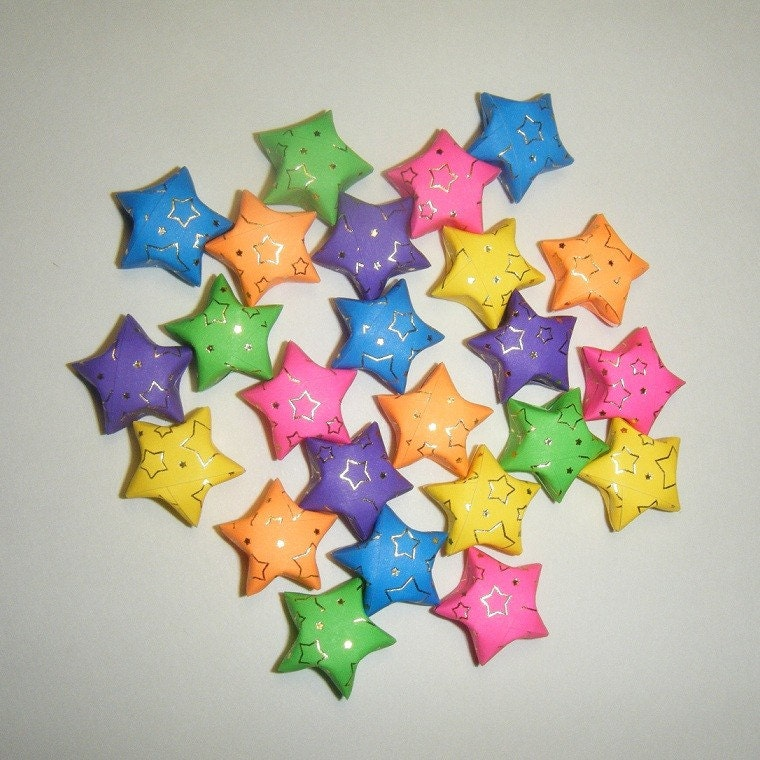 Large Rainbow Origami Stars with Foil Star Outlines