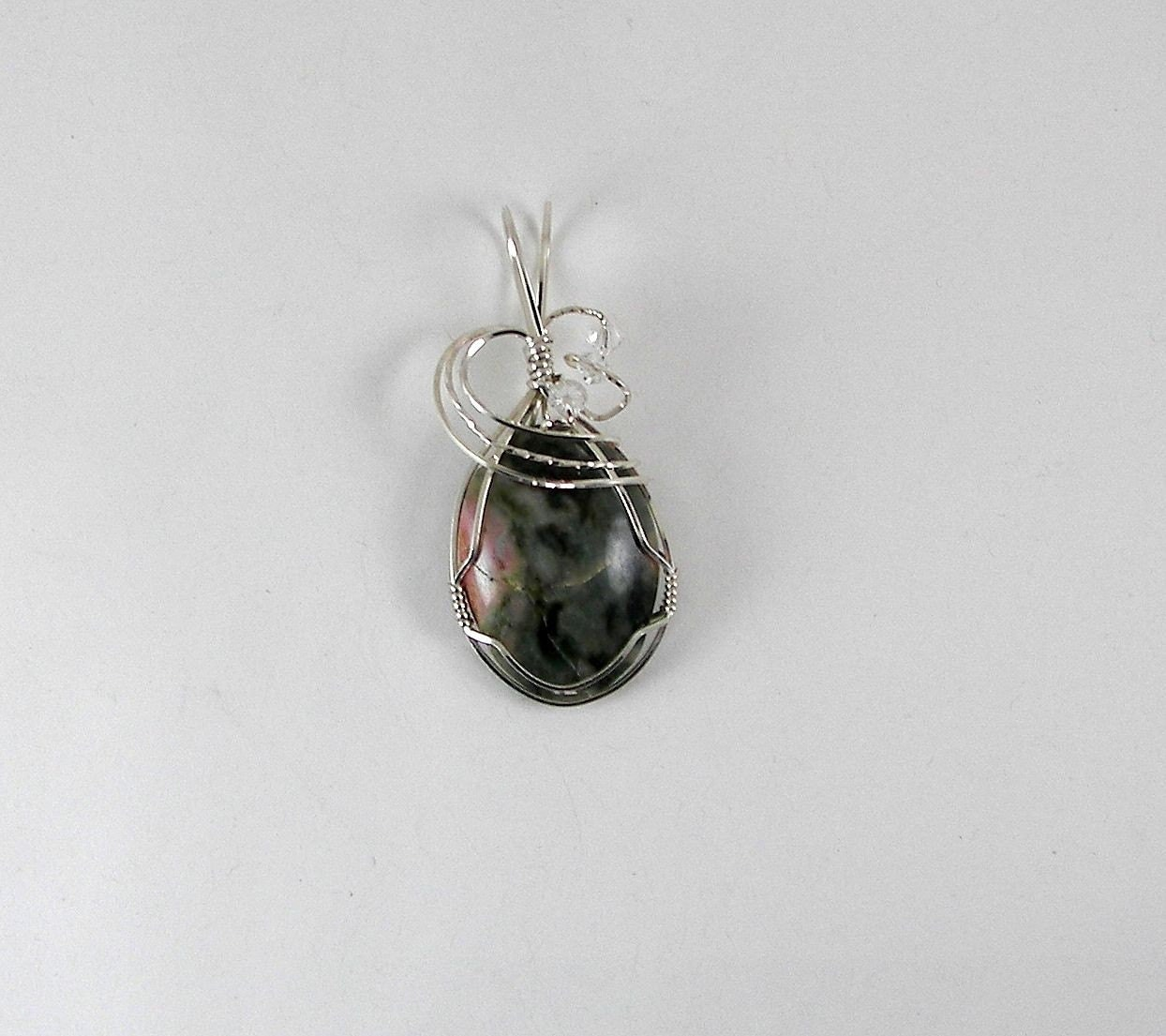 RESERVED - Argentium Sterling Wire Wrapped Unakite Pendant