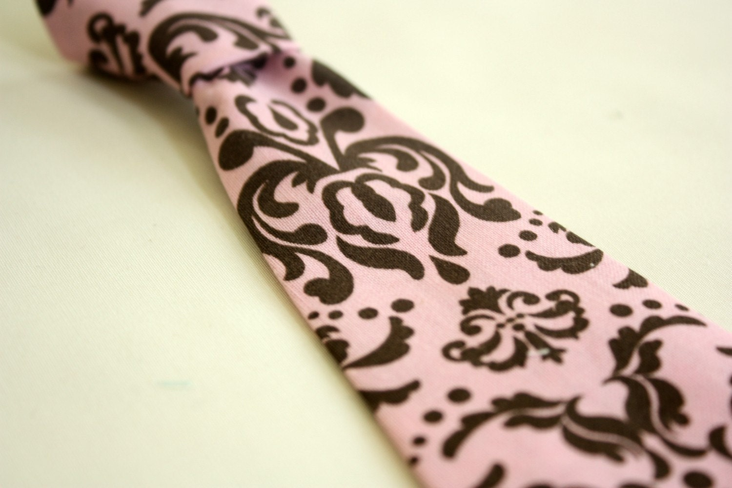 Pink and Chocolate Brown Damask Toddler Little Boy Necktie Neck tie