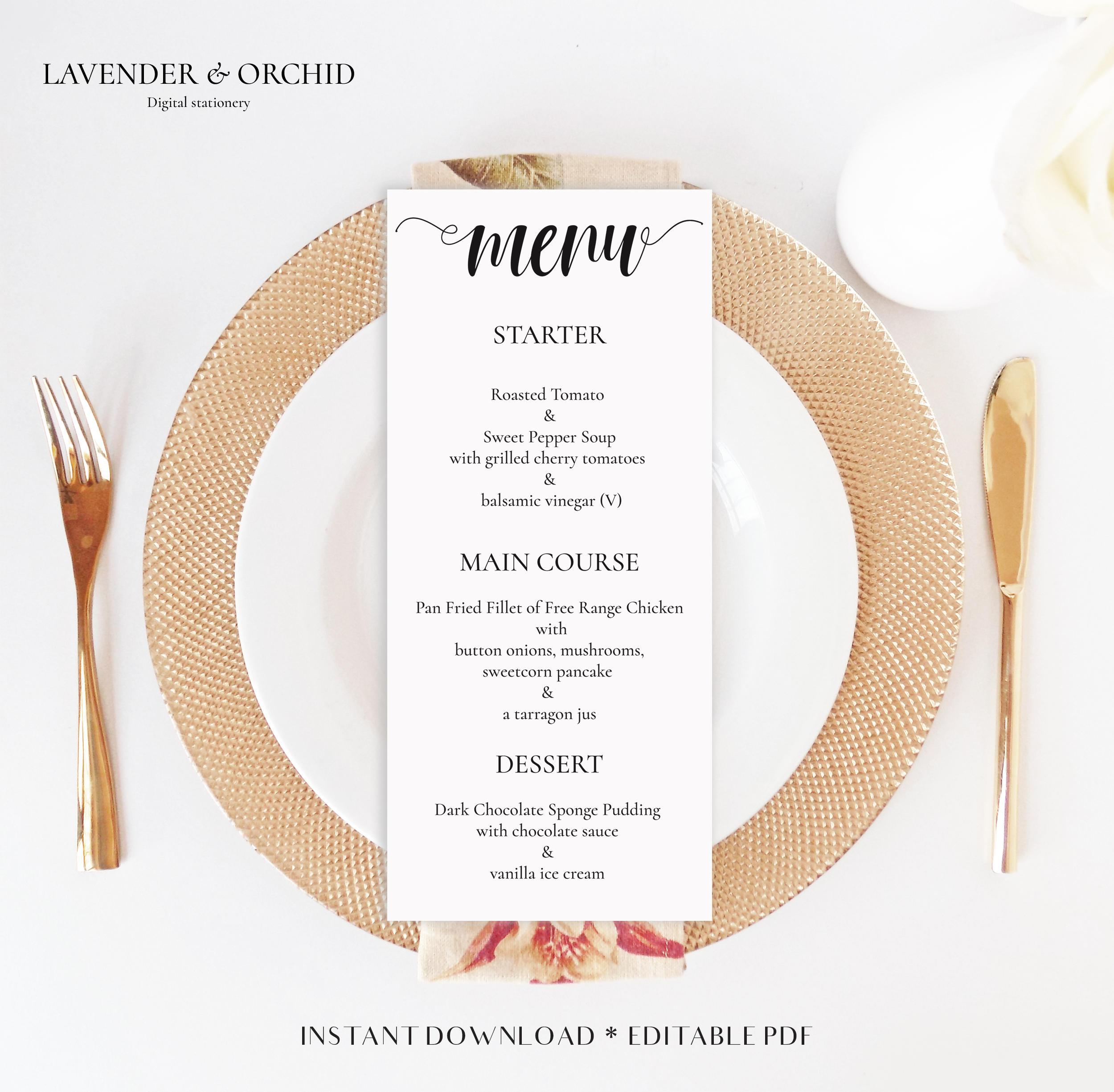 Wedding menu templates Dinner menu templates Instant download Editable PDF DIY dinner menu Party menu templateDinner menu Menu card