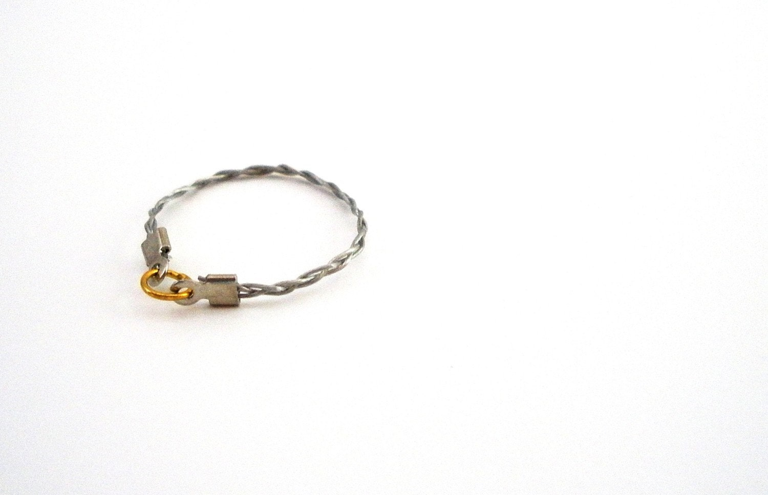 Braided Wire Ring in Silver and Gold - industrial, classic, chic