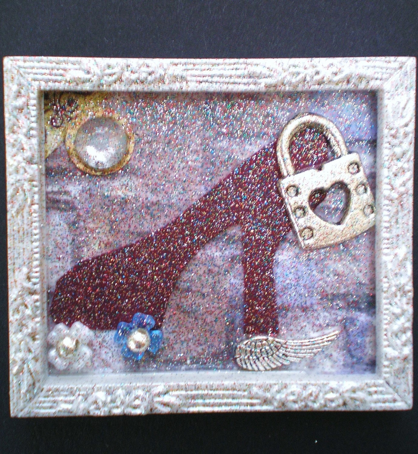 Long I Stood - Tiny Collage Mixed Media OOAK Framed Signed with Beads Silver Bird Charm Watch Parts