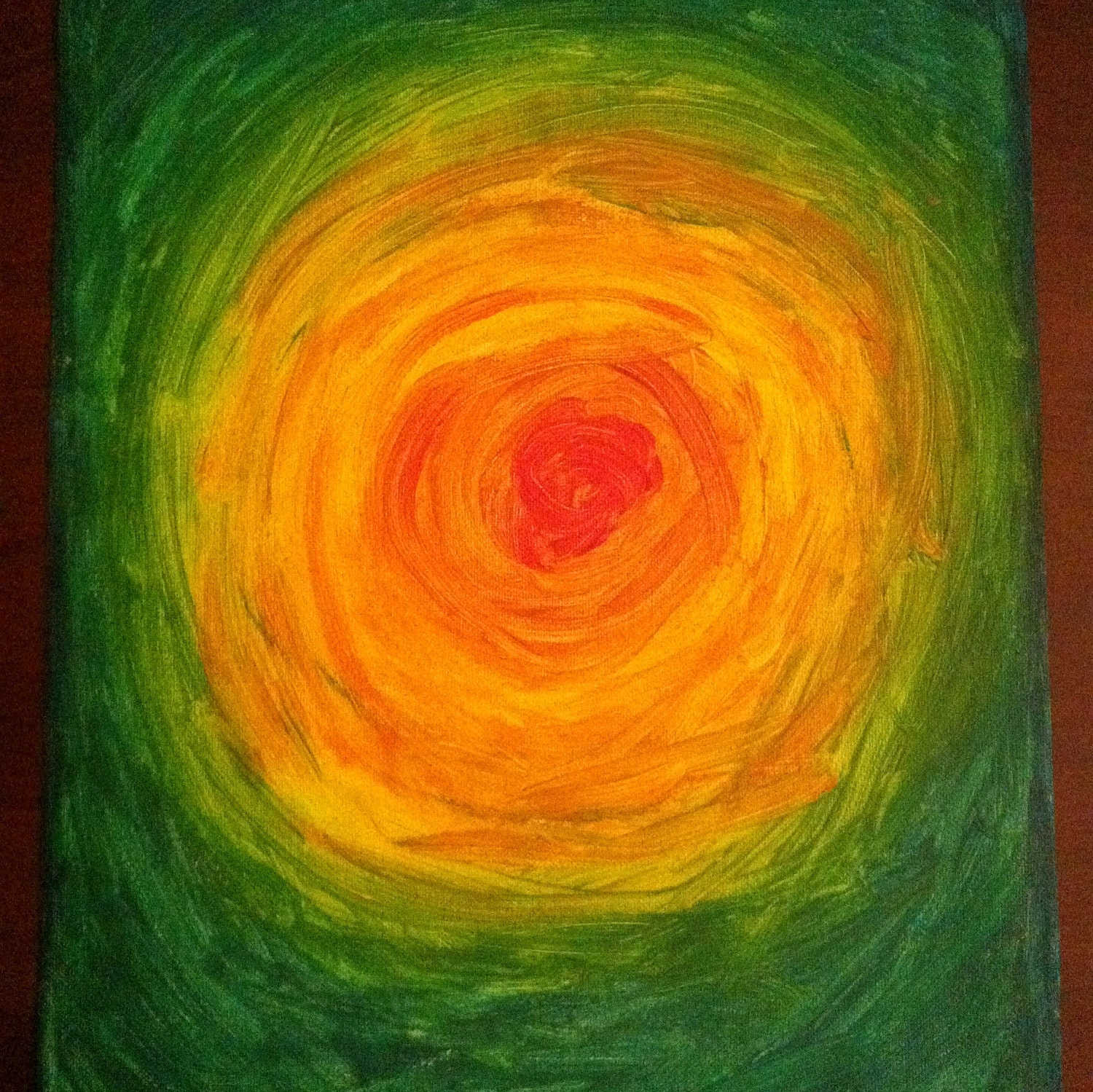 "SALE 16""x12"" Abstract Acrylic Painting on unstretched canvas OOAK - Black Hole Sun"