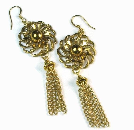 Handmade Earrings - Gold Tassel Vintage Flower