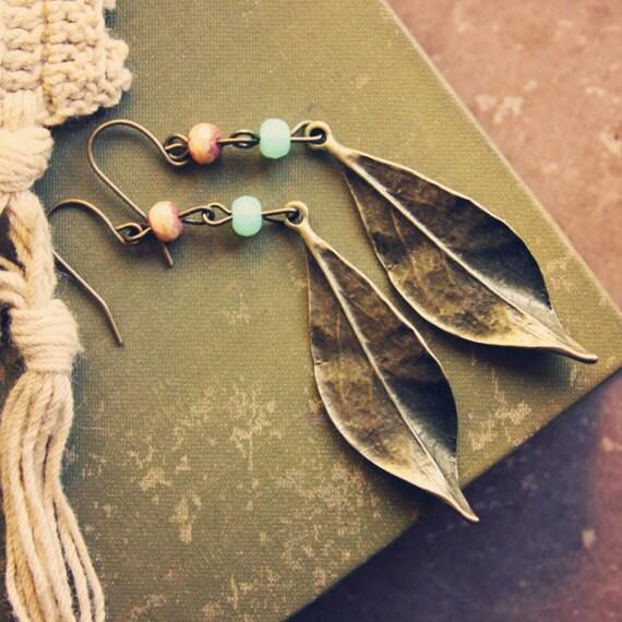 seafoam green and cream leaf earrings - violetbella