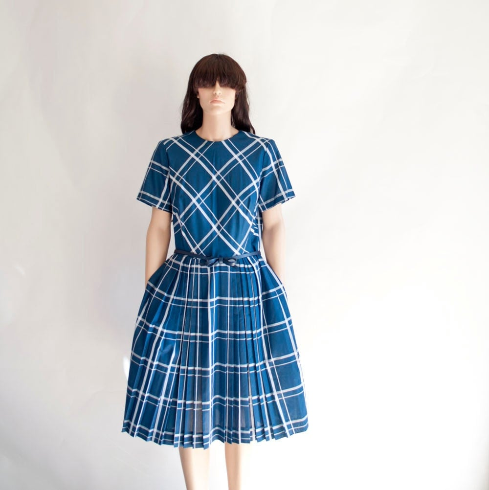 Vintage 50s Toni Todd Navy Plaid Dress by MariesVintage on Etsy