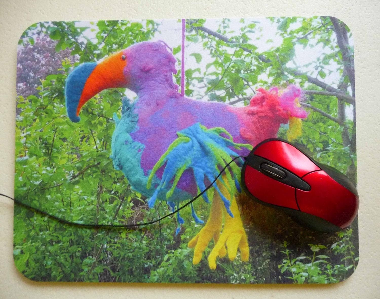 art print mouse pad mat mousepad felt felted bird dodo