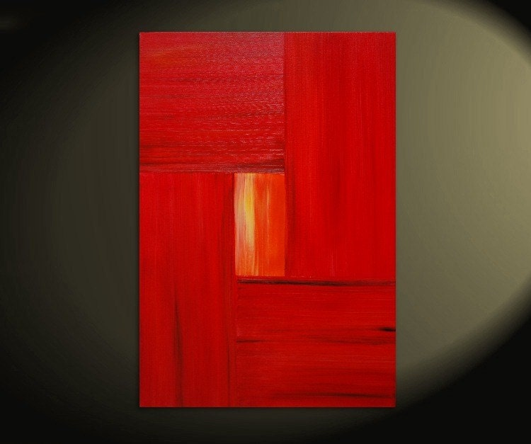 24x36 CUSTOM Bold Red Modern Abstract Painting Urban Original Art on Stretched Canvas