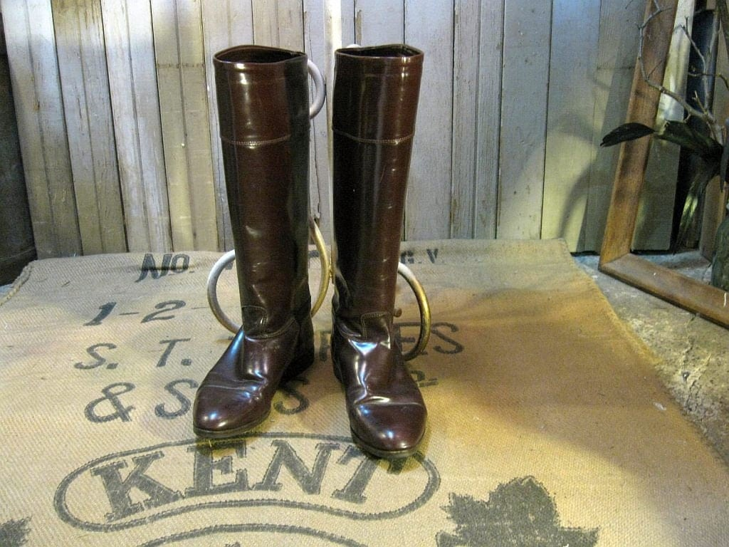 Oxblood Burgundy Shiny boots of leather vintage Nordstrom tall preppy riding 8