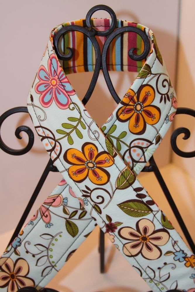 Camera Strap, Garden Whimsey and Stripes, Reversible, Quick-Release