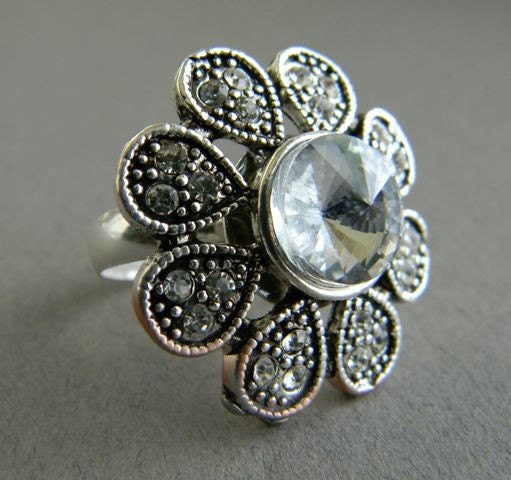 Flower Sterling Silver Adjustable Ring- By RosesDesigns