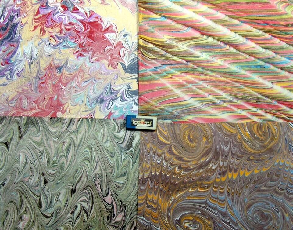 italian marbleized paper card making   scrapbook .book binding marble  Pack 4 -  9,75