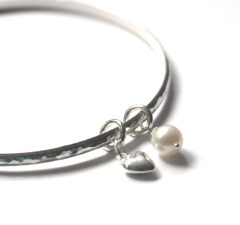 Bridesmaid gift  Bridesmaid bangle  Heart Bangle  Hammered Bracelet  Love  Anniversary  June Birthstone