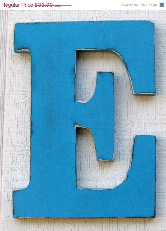 "ON SALE Large Wood Letters ""E"" Distressed in Island Blue 12"" tall Wood Name Letters Cottage Wall decor Solid Wood - borlovanwoodworks"