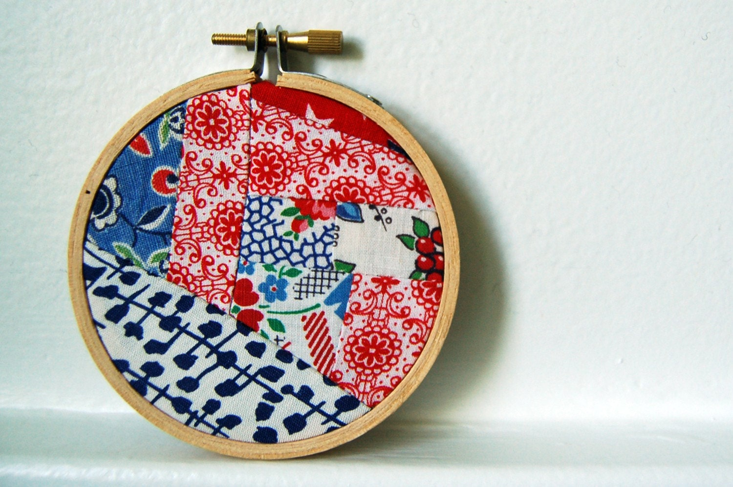 Red, White and Blue Vintage Fabric Patchwork Mash Up in Hoop