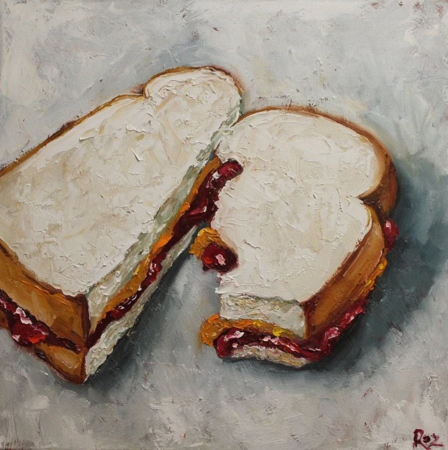 PB and J Sandwich 18x18 inch original oil painting by Roz