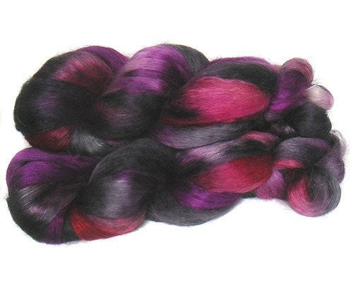 WENSLEYDALE SILK roving top handdyed spinning fibre 3.5 oz