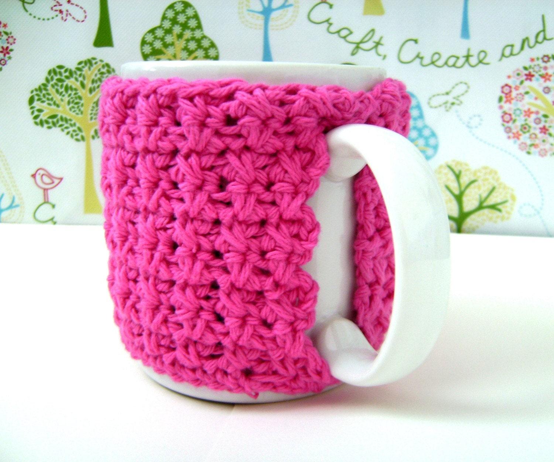 Pink Cotton Mug Cozy Handmade Crocheted
