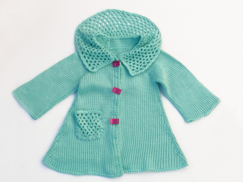 فیروزه ای شیک کت knitted