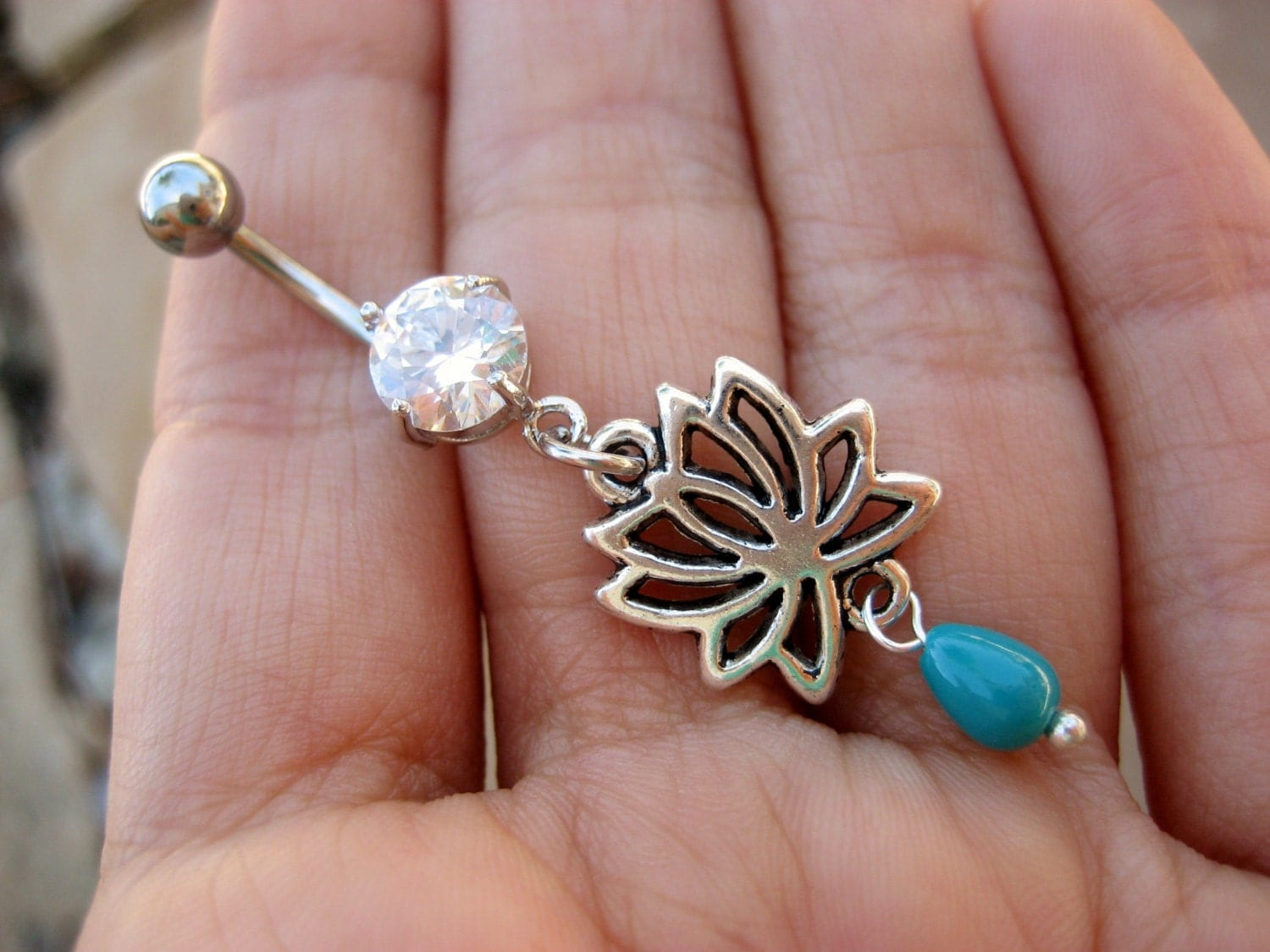 Lotus Belly Button Ring