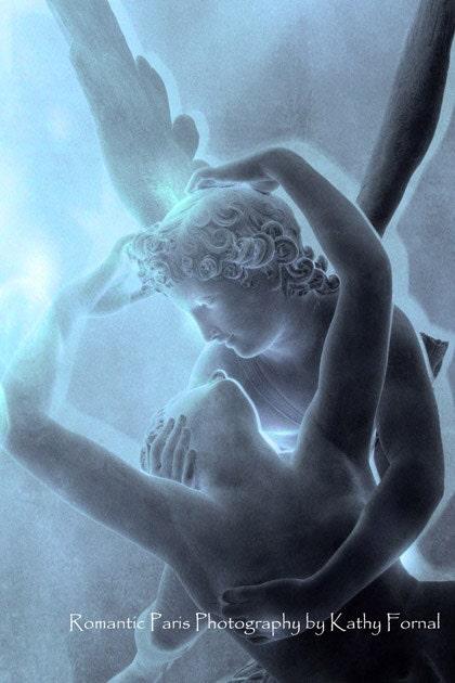 """Paris Photos - Romantic Paris Lovers Sculpture -Ethereal Blue Eros and Psyche - Dreamy - Fine Art Photography 8"""" x 12"""""""