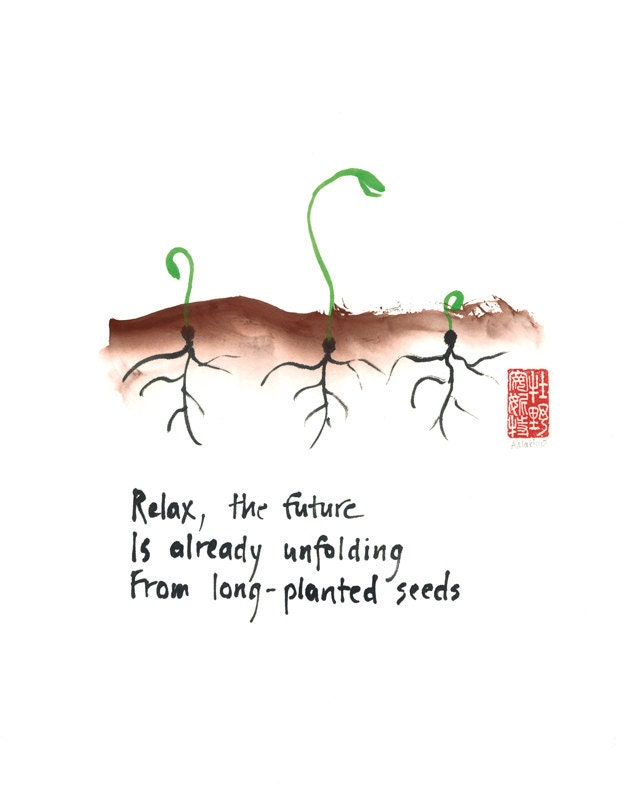 Zen affirmation 11x14 print  - seedlings - haiku and sumi ink painting - MakinoStudios