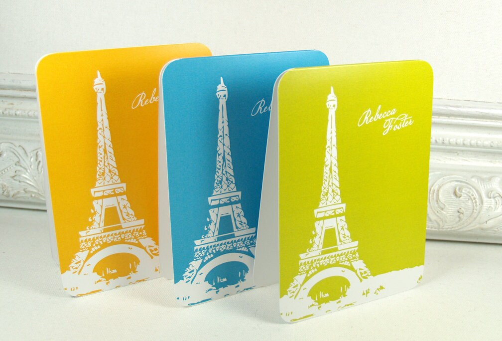 personalized note cards stationery set -eiffel tower (8) CHOOSE color