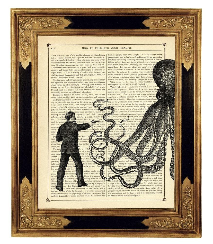 Gentleman vs Octopus Kraken - Vintage Victorian Book Page Art Print Steampunk